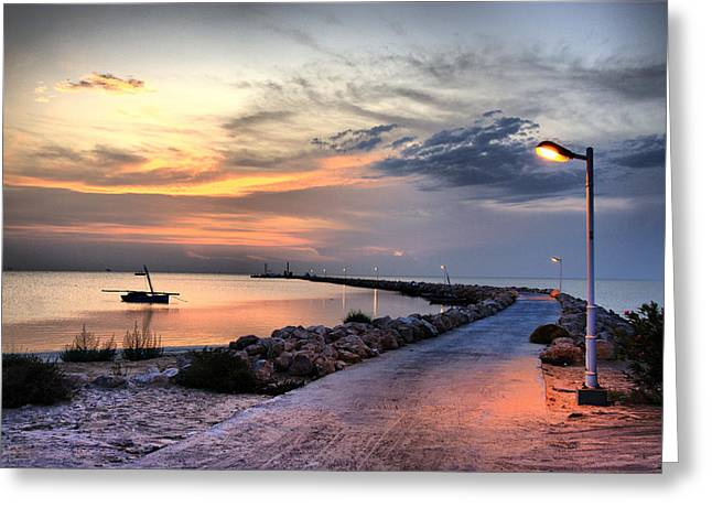 Sunset On Kerkennah Island Greeting Card by Aleksey Napolskih