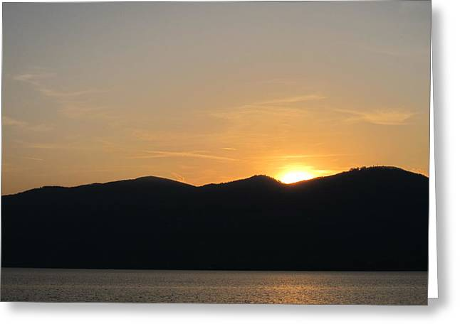Sunset On Lake Greeting Card by Alberto V  Donati
