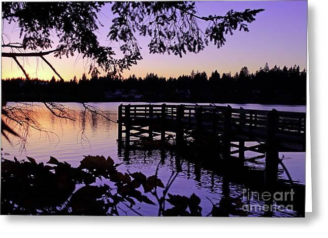 Sunset On Lake Ballinger Greeting Card by Eddie Eastwood