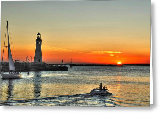 Sunset On Lake Erie Greeting Card