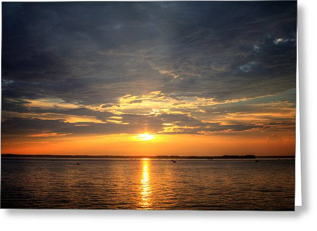 Sunset On Lake Hartwell Greeting Card by Lynne Jenkins