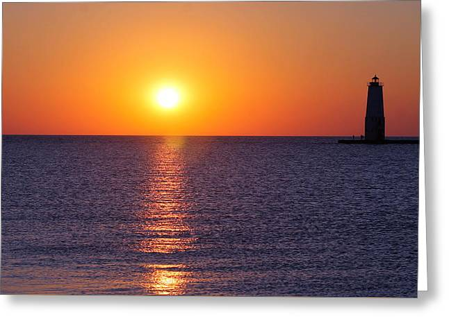 Sunset On Lake Michigan Greeting Card