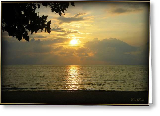 Sunset On Lake Michigan Greeting Card by Trina Prenzi