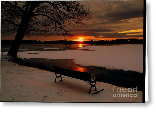 Sunset On Lake Quanapowitt Greeting Card