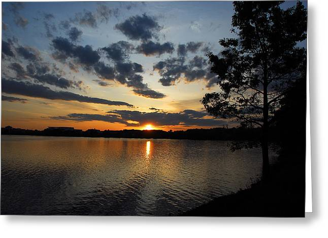 Sunset On Lake Quannapowitt Greeting Card