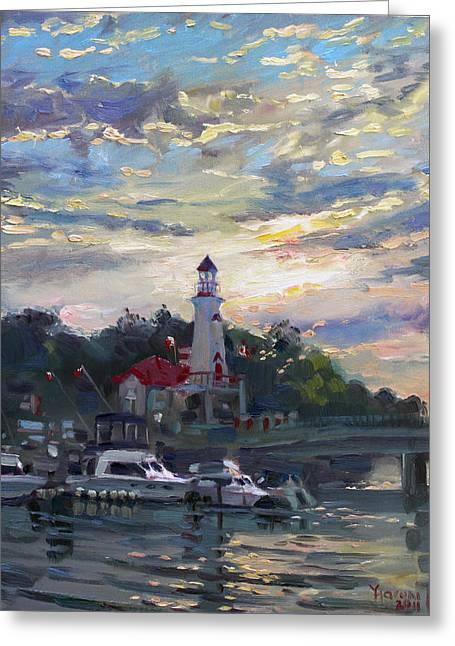 Sunset On Lake Shore Mississauga Greeting Card by Ylli Haruni