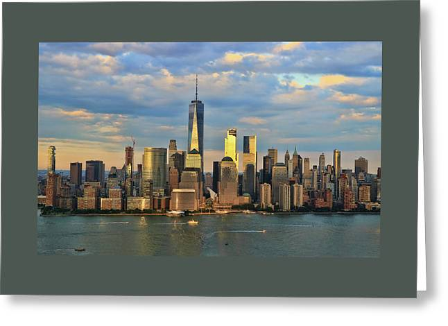 Sunset On Lower Manhattan Greeting Card