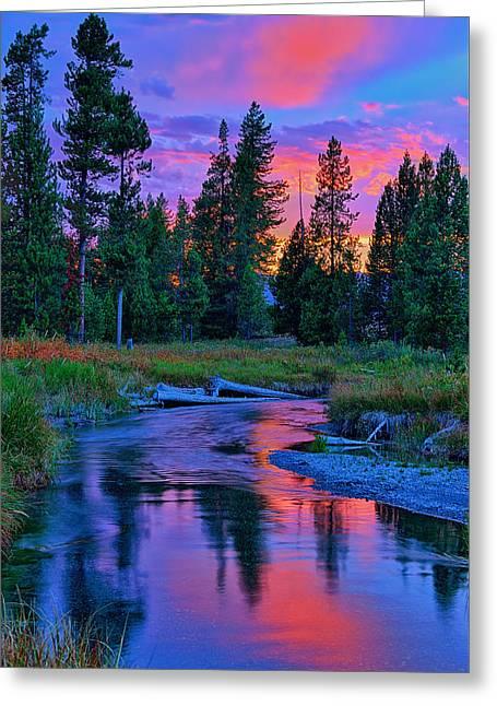 Sunset On Lucky Dog Creek Greeting Card