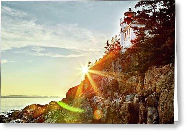 Ocean Sunset On Maine's Bass Harbor Lighthouse Greeting Card