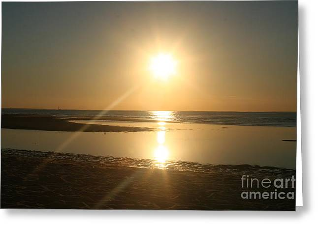 Sunset On Mayflower Beach Greeting Card by Amy Holmes