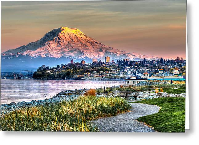 Sunset On Mt Rainier And Point Ruston Greeting Card