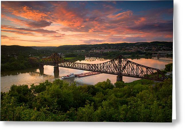 Sunset On Ohio River  Greeting Card