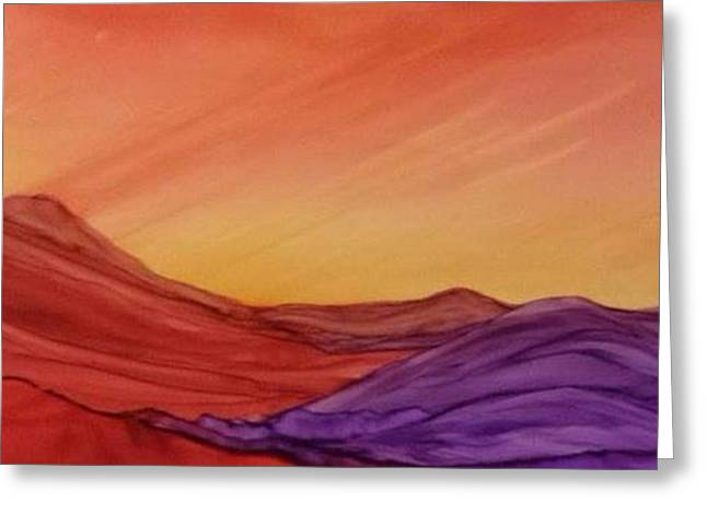 Sunset On Red And Purple Hills Greeting Card