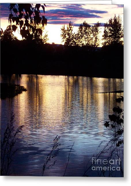 Greeting Card featuring the photograph Sunset On River by Deahn      Benware