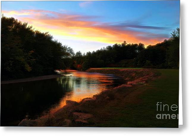 Sunset On Saco River Greeting Card