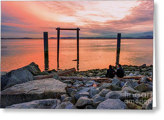 Sunset On Steveston. Greeting Card