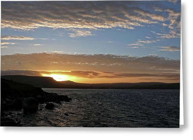 Sunset On The Antrim Coast Road. Greeting Card