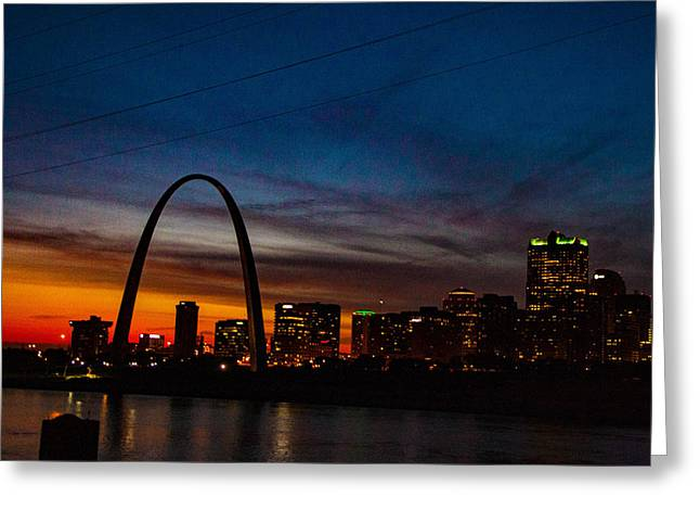 Sunset On The Arch Greeting Card by Gotcha Pics Photography