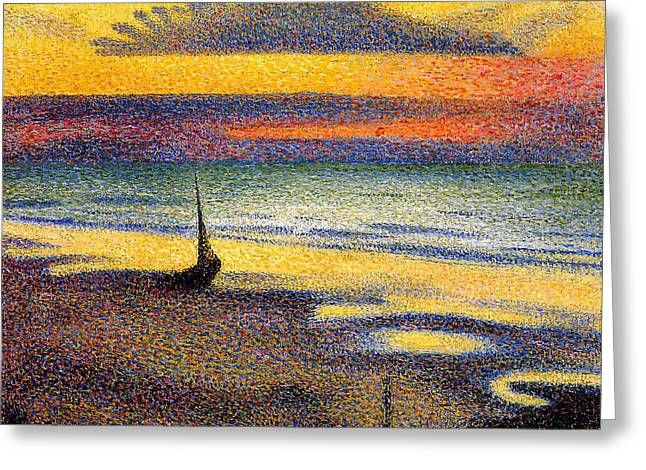 Sunset On The Beach 1891 Greeting Card