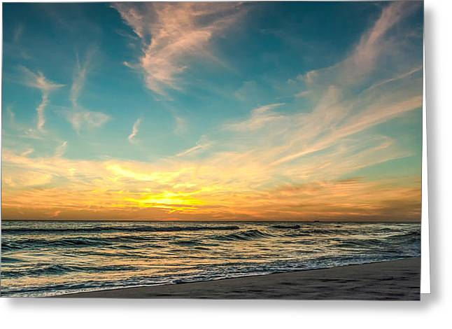 Sunset On The Beach Greeting Card by Phillip Burrow