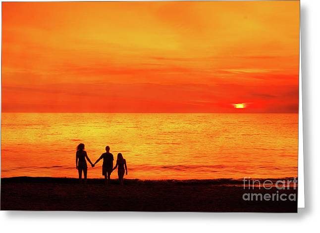 Greeting Card featuring the digital art Sunset On The Beach by Randy Steele