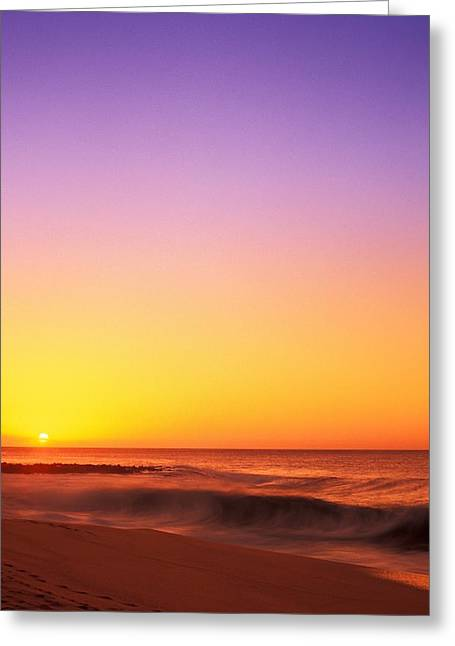 Sunset On The Beach Greeting Card by Vince Cavataio - Printscapes
