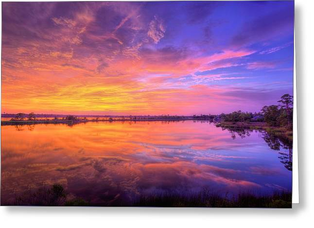 Sunset On The Black Water Greeting Card by JC Findley