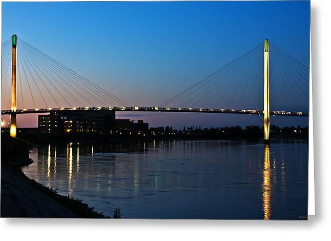 Sunset On The Bob Kerry Pedestrian Bridge Greeting Card