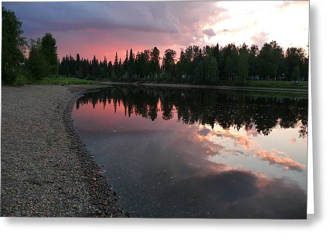 Sunset On The Chena River Greeting Card