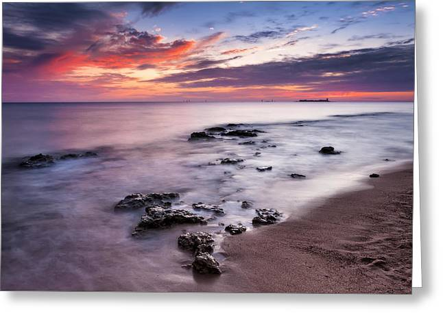 Sunset On The Coast Of Chiclana Greeting Card by Hernan Bua