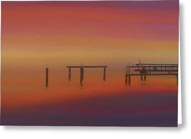 Sunset On The Dock Greeting Card by Dan Sproul