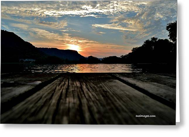 Sunset On The Dock Greeting Card