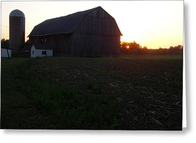 Sunset On The Farm Greeting Card by Todd Zabel