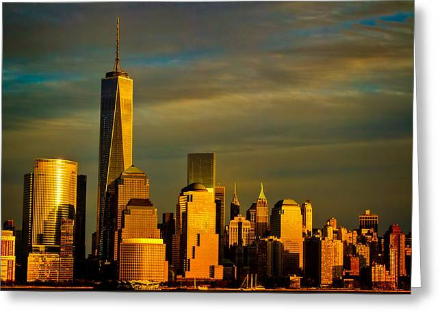 Sunset On The Financial District Greeting Card