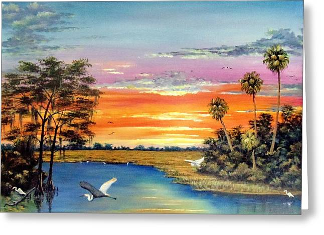 Sunset On The Glades Greeting Card by Riley Geddings