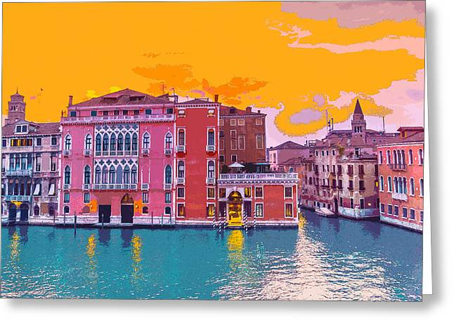Sunset On The Grand Canal Venice Greeting Card