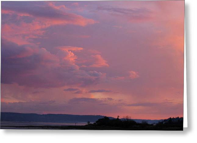 Sunset On The Hood Canal Greeting Card
