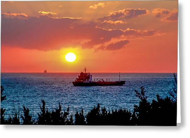 Sunset On The Horizon Greeting Card