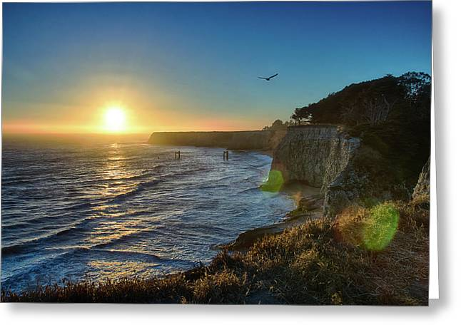Sunset On The Horizon  Greeting Card by Tu Le
