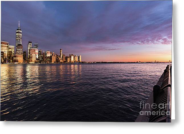 Sunset On The Hudson River Greeting Card