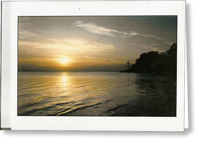 Sunset On The James Greeting Card by Anne-Elizabeth Whiteway