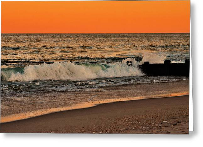 Sunset On The Jetty - Jersey Shore Greeting Card by Angie Tirado