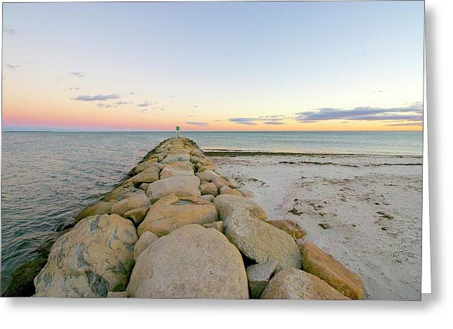 Sunset On The Jetty Greeting Card