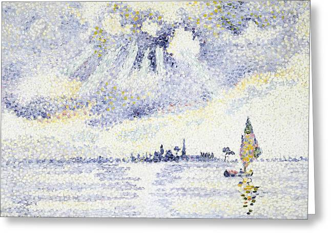 Sunset On The Lagoon, Venice Greeting Card by Henri-Edmond Cross