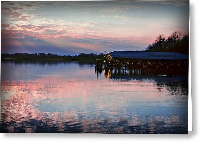 Sunset On The Lake Greeting Card by Dave Chafin