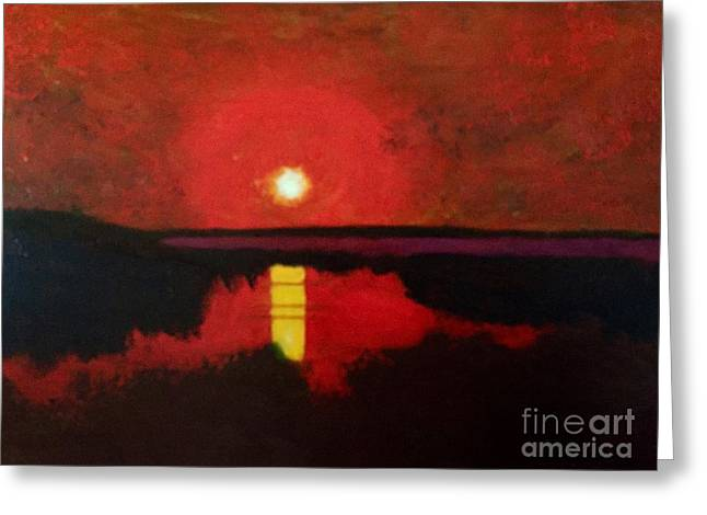 Greeting Card featuring the painting Sunset On The Lake by Donald J Ryker III