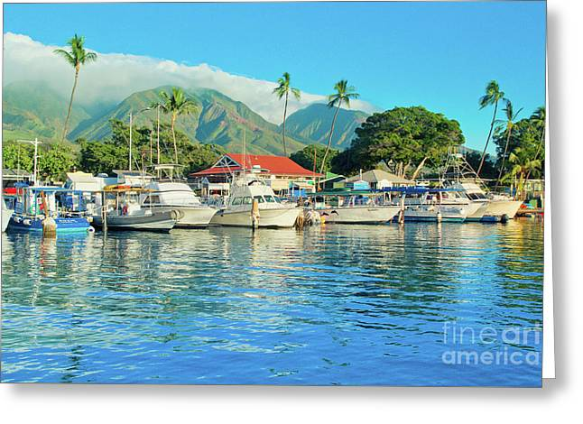 Sunset On The Marina Lahaina Harbour Maui Hawaii Greeting Card