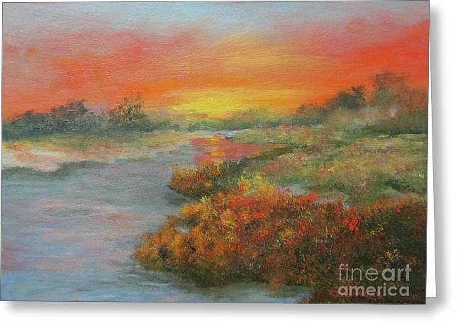 Sunset On The Marsh Greeting Card