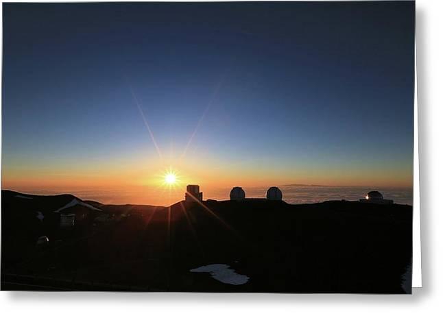 Sunset On The Mauna Kea Observatories Greeting Card