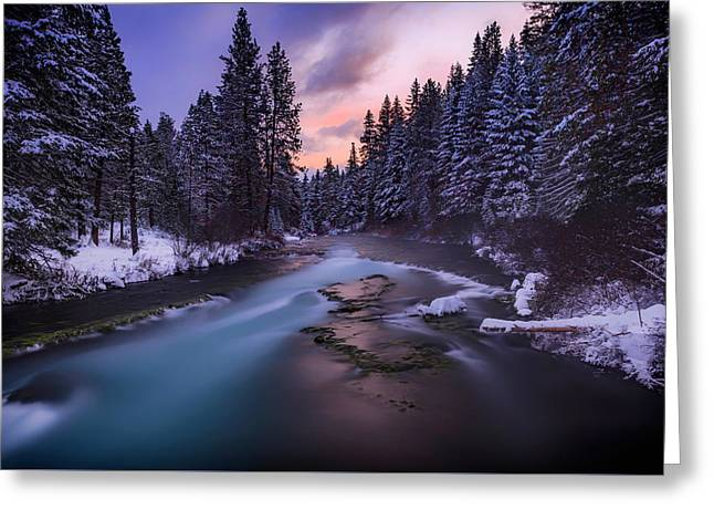 Sunset On The Metolius Greeting Card by Cat Connor